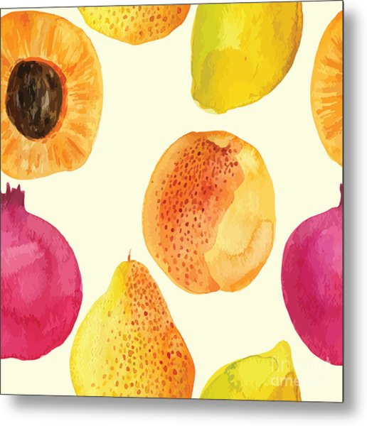 Colorful  Watercolor Vector Fresh Metal Print by Alexandra Dzh