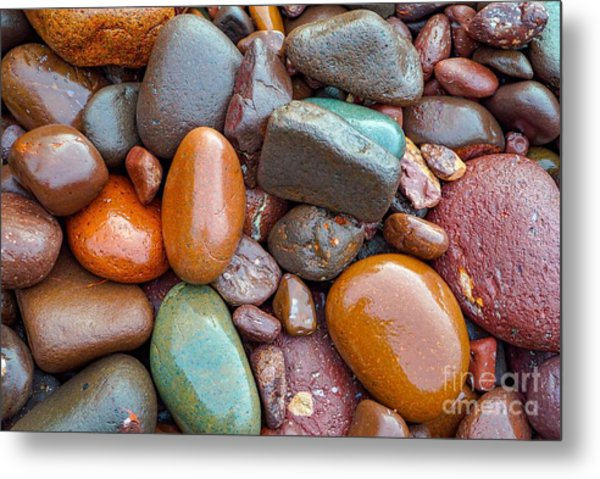Colorful Wet Stones Metal Print