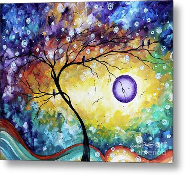 Colorful Whimsical Original Landscape Tree Painting Purple Reign By Megan Duncanson Metal Print