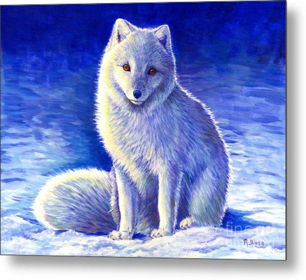 Colorful Winter Arctic Fox Metal Print