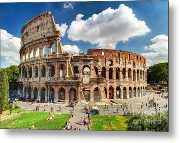 Colosseum In Rome, Italy. Ancient Roman Metal Print