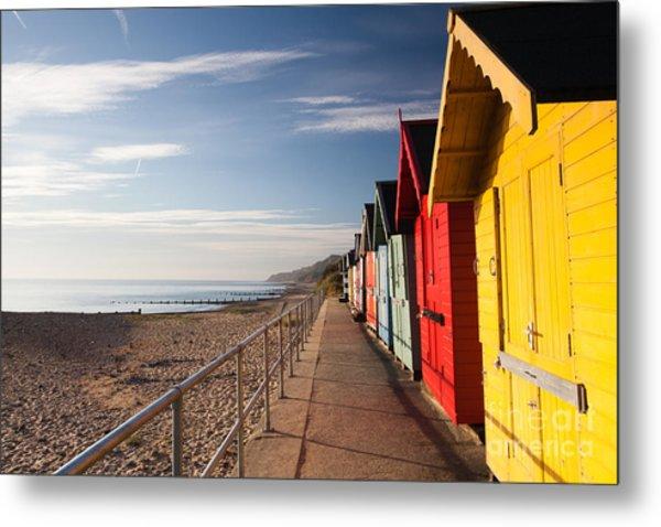 Colourful Beach Huts On The Cromer Beach Metal Print