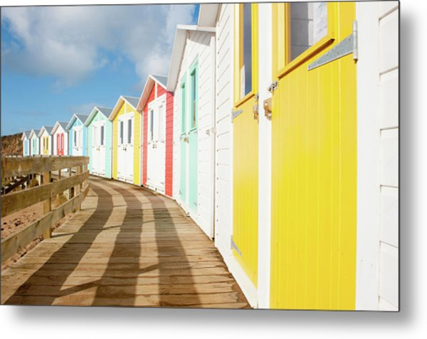 Colourful Bude Beach Huts Metal Print