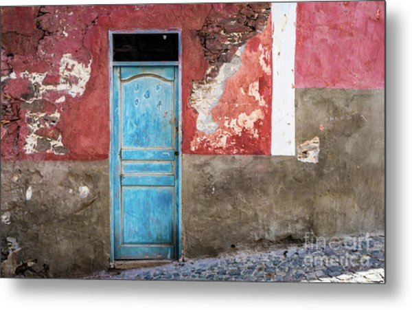 Colorful Wall With Blue Door Metal Print