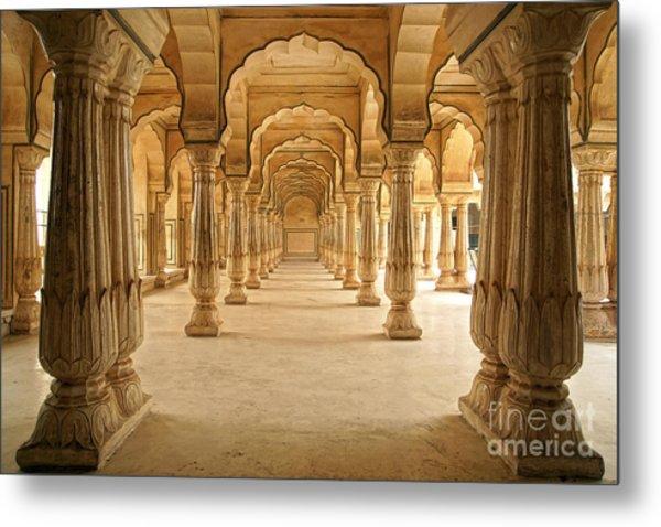 Columned Hall Of Amber Fort. Jaipur Metal Print by Igor Plotnikov