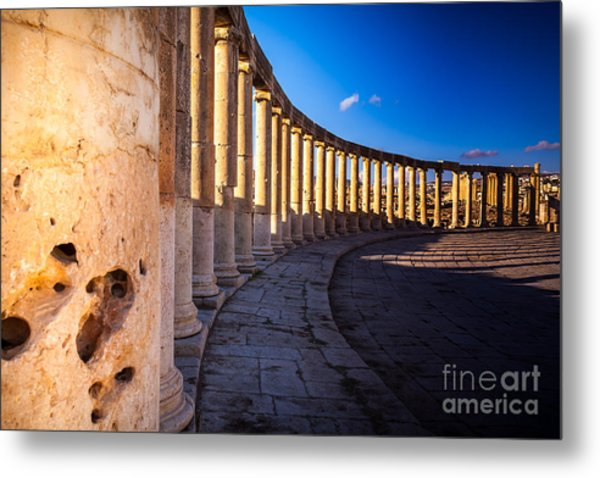 Columns  In Ancient Ruins In The Metal Print