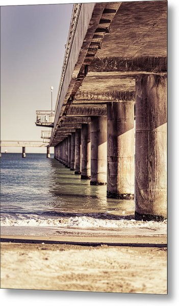 Columns Of Pier In Burgas Metal Print