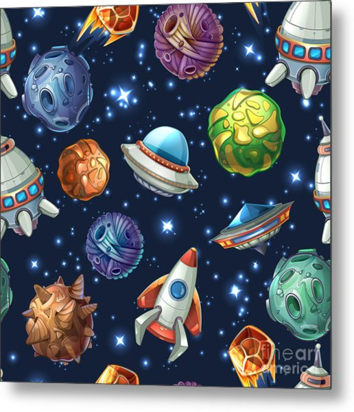 Comic Space With Planets And Metal Print