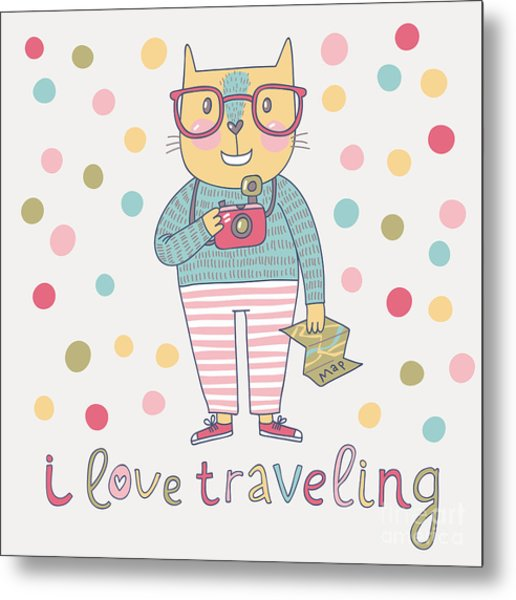 Concept Cat Hipster In Cartoon Funny Metal Print by Smilewithjul