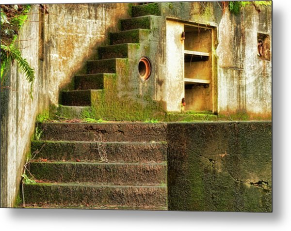 Concrete Weathered Stairway Metal Print