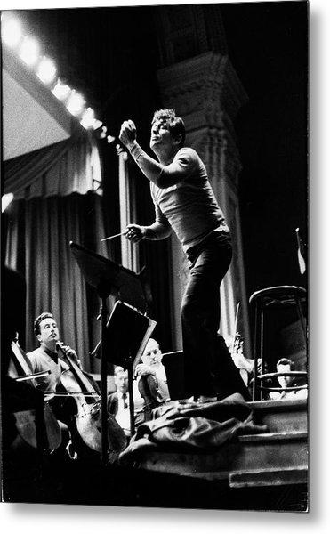 Conductor Leonard Bernstein Rehearsing Metal Print