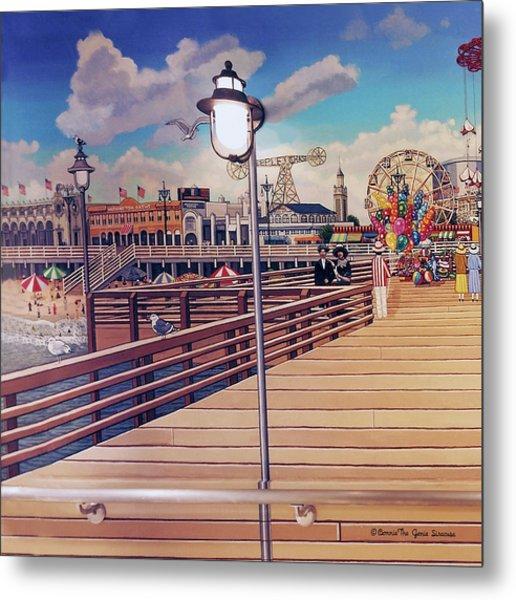 Coney Island Boardwalk Pillow Mural #1 Metal Print