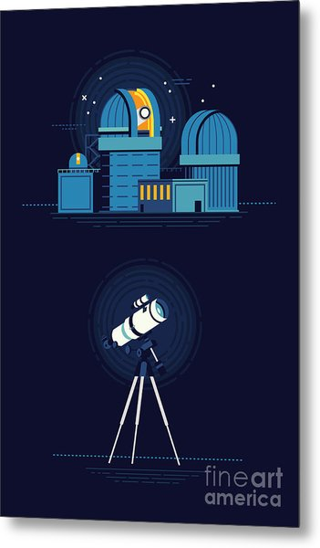 Cool Vector Modern Observatory At Night Metal Print