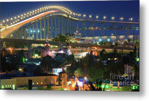 Coronado Bay Bridge Shines Brightly As An Iconic San Diego Landmark Metal Print