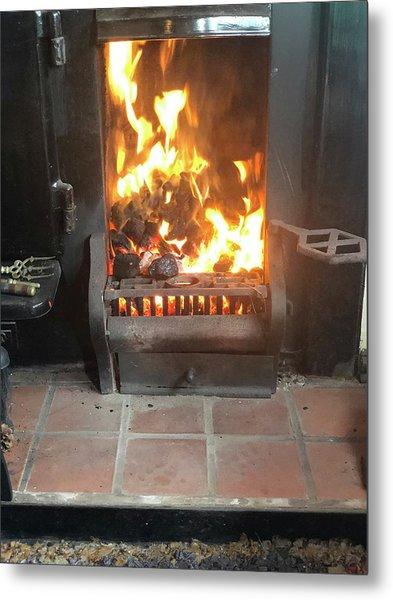 Cosy Winter Fire Metal Print