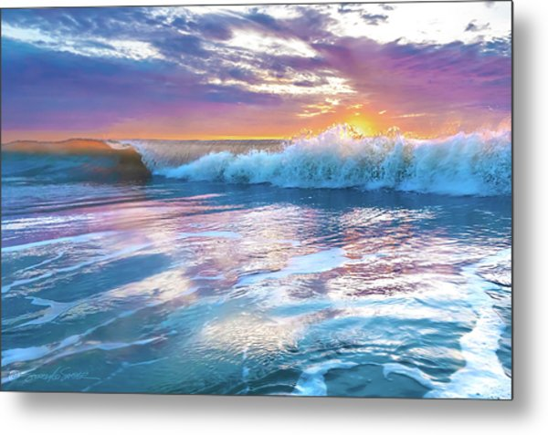Cotton Candy Sunrise Surf Metal Print