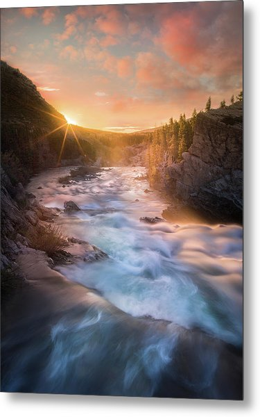 Metal Print featuring the photograph Cotton Candy Sunrise / Swiftcurrent Falls, Glacier National Park  by Nicholas Parker