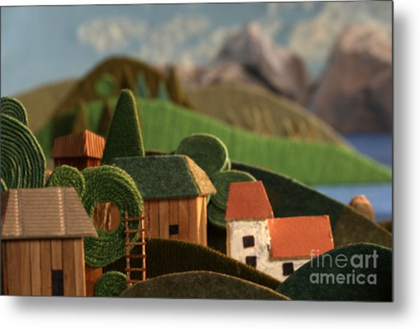 Countryside Houses With Mountains In Metal Print
