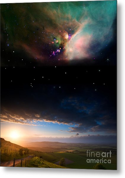 Countryside Sunset Landscape With Metal Print