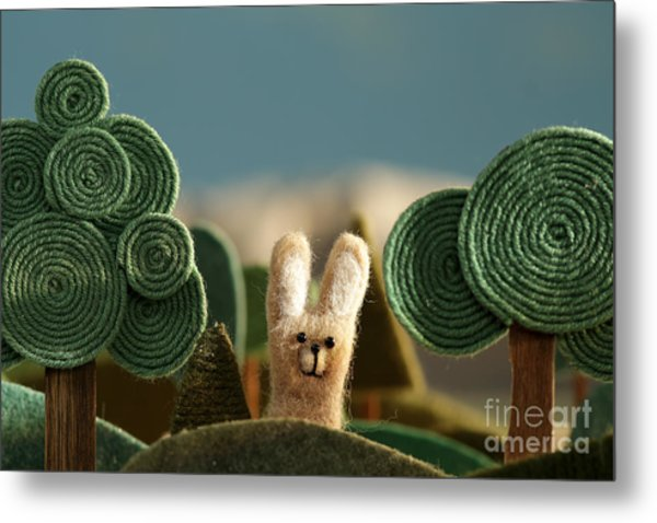 Countryside With Hare - Stylized Nature Metal Print