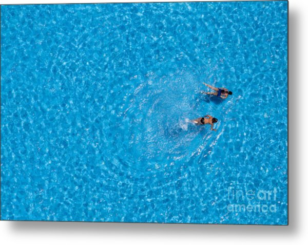 Couple Girls Swim In The Pool At The Metal Print