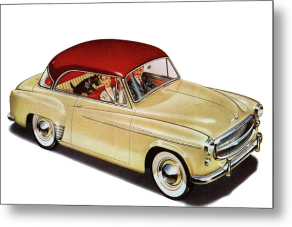 Couple In Car With Scotty Dog Metal Print by Graphicaartis