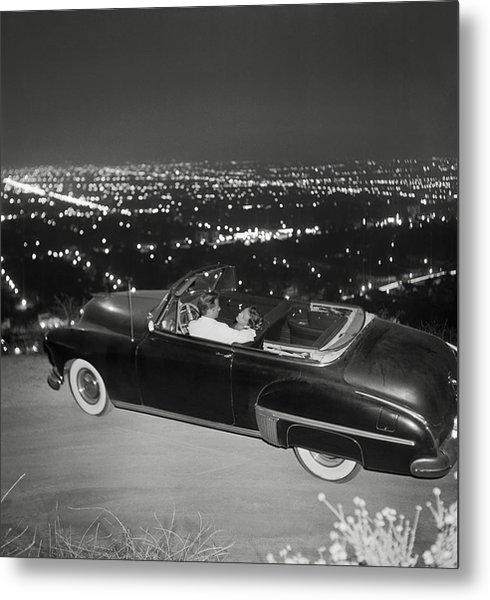 Couple In Convertible On Mulholland Metal Print