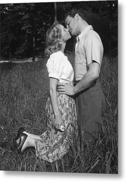 Couple Kissing Outdoors Metal Print