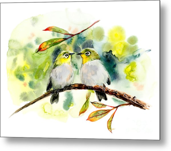 Couple Of Little Green Birdies Metal Print