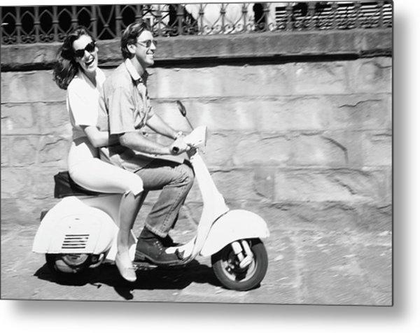Couple On Motor Scooter B&w Metal Print