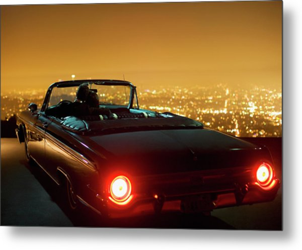 Couple Parking In Convertible At Night Metal Print