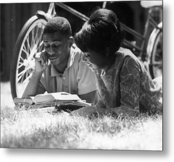 Couple Reading Metal Print
