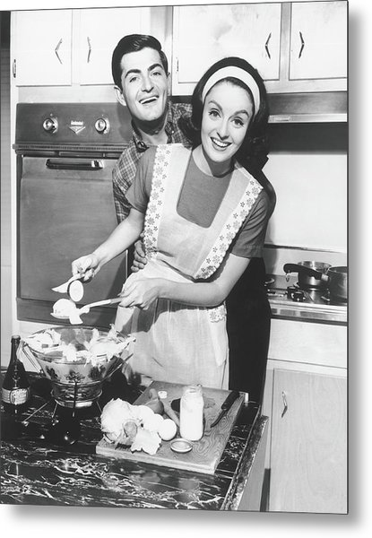 Couple Standing In Kitchen, Smiling, B&w Metal Print