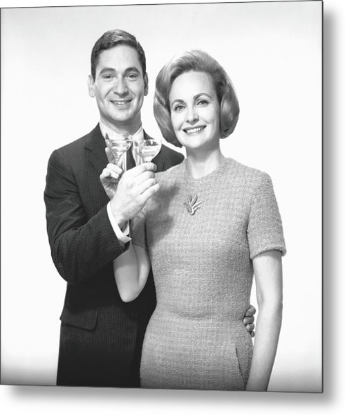 Couple Toasting Champagne In Studio Metal Print