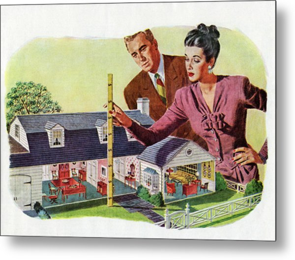 Couple With Model Of New Home Metal Print