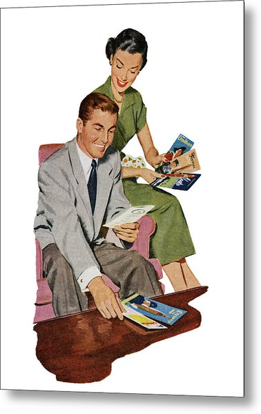 Couple With Travel Brochures Metal Print