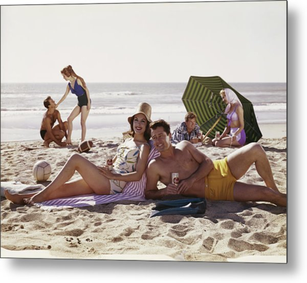 Couples Having Fun On Beach, Smiling Metal Print