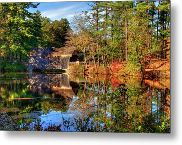 Metal Print featuring the photograph Covered Bridge In Autumn - Dummerston Covered Bridge by Joann Vitali