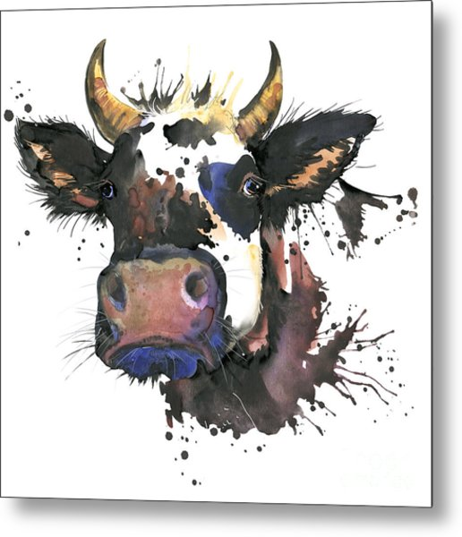 Cow Watercolor Illustration. Farm Metal Print