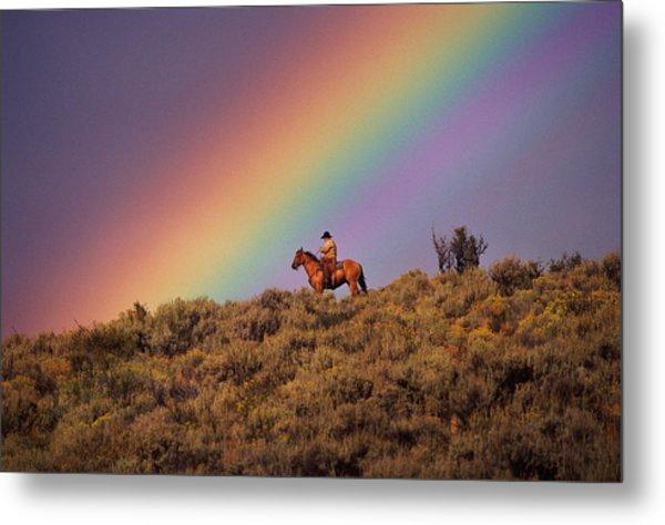 Cowboy And Rainbow, Ponderosa Ranch Metal Print