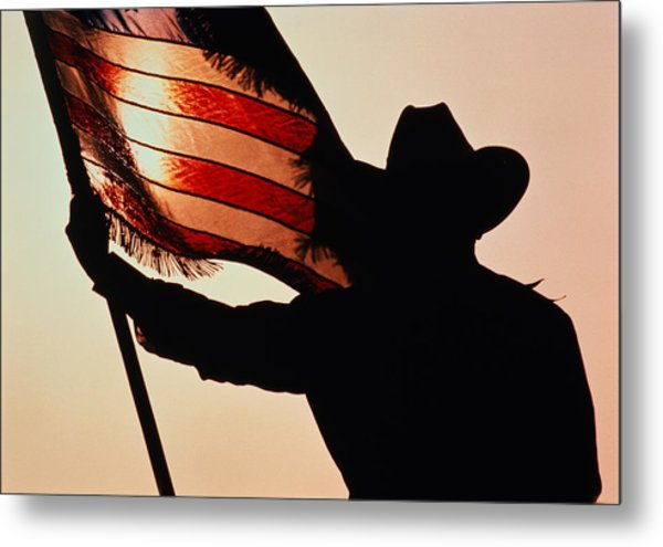 Cowboy Holding Stars And Stripes Metal Print