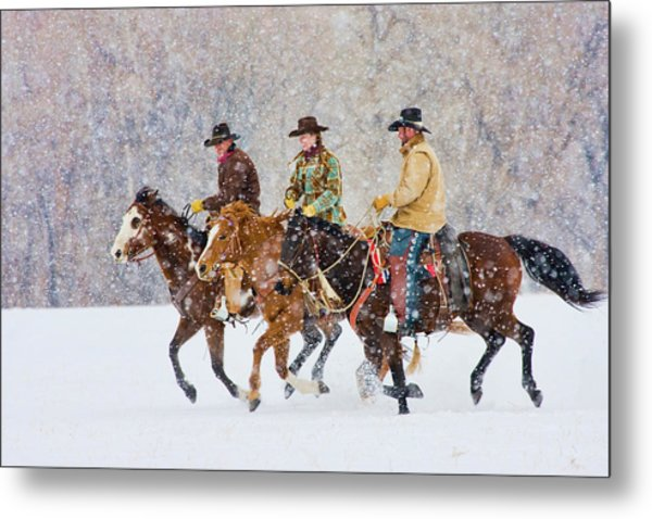 Cowboys And Cowgirl Riding Snowfall Metal Print