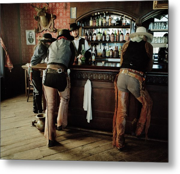 Cowboys At Saloon Metal Print