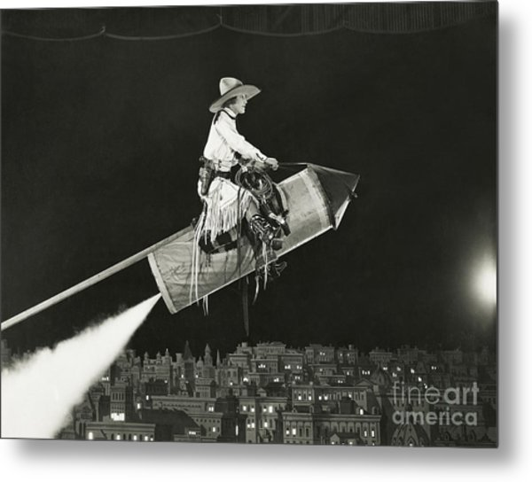 Cowgirl Takes Off On A Rocket Metal Print