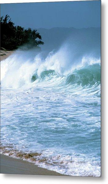 Crashing Wave Sunset Beach Metal Print