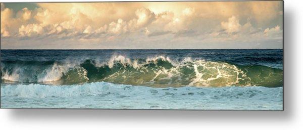 Crashing Waves And Cloudy Sky Metal Print
