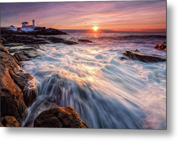 Metal Print featuring the photograph Crashing Waves At Sunrise, Nubble Light.  by Jeff Sinon