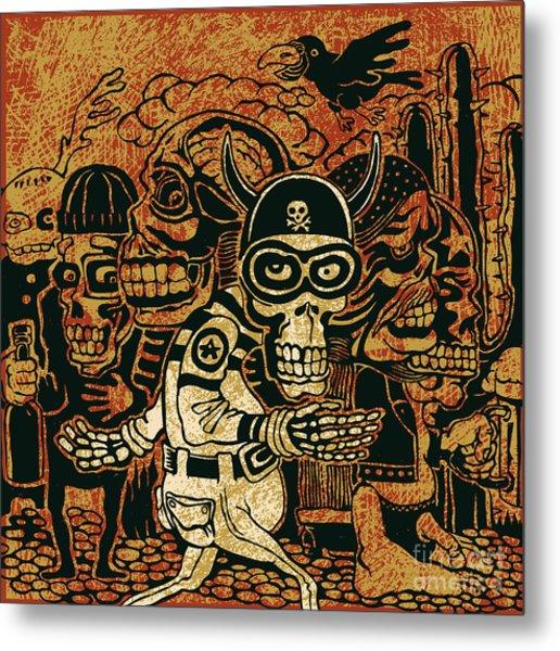 Crazy Persons, Bikers, Skulls And Metal Print