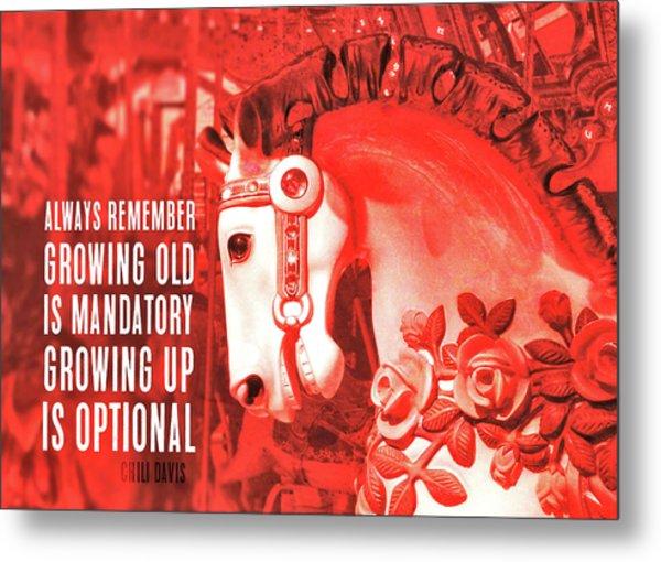 Crimson Carousel Quote Metal Print