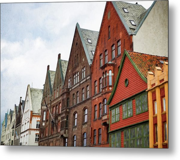 Crooked Buildings Of Bergen Norway In Europe Metal Print